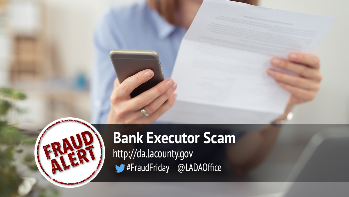Bank Executor Scam Graphic