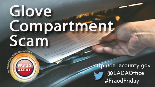 Graphic image of Fraud Friday Glove Compartment Scam