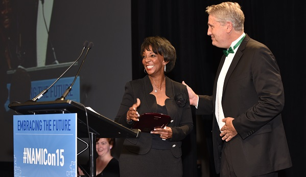 Photograph of District Attorney Jackie Lacey receiving award.