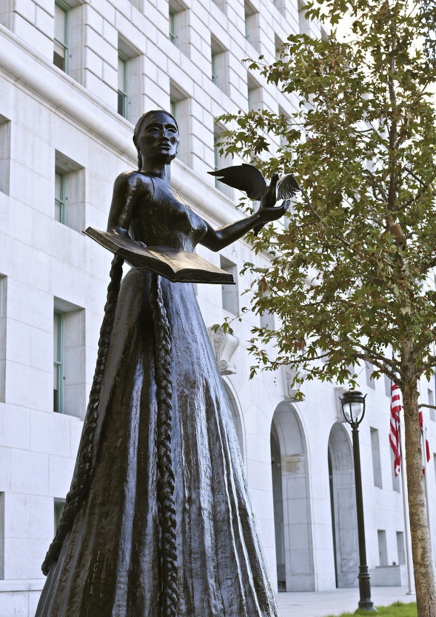 Photograph of sculpture Embodied at the Hall of Justice